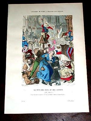 Gravure aquarellée La fête des Fous et des Diacres. (XIVe Siècle): GRAVURE DE COSTUME