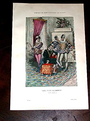Gravure aquarellée Henri III et ses Mignons (XVIe Siècle).: GRAVURE DE COSTUME de ...