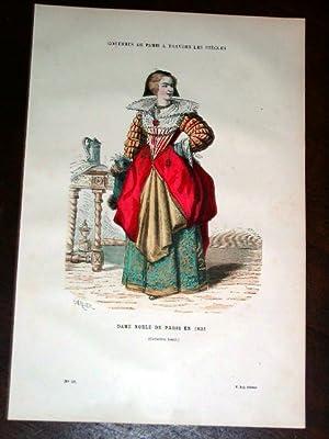 Gravure aquarellée Costume - Dame Noble de paris en 1633: GRAVURE DE COSTUME de PARIS ...