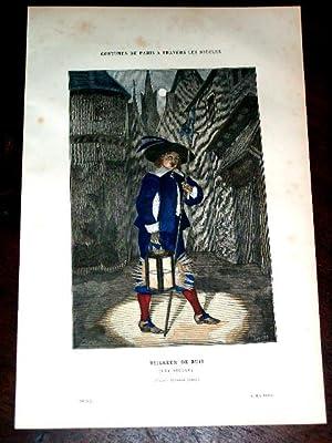 Gravure aquarellée CostumeVeilleur de Nuit (XVIe siècle): GRAVURE DE COSTUME