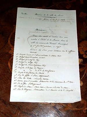 Lettre a entête de la Marie de la Ville du Mans signée par Auguste: Lettre autographe