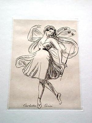Gravure sur cuivre sur vélin de Rives par Vibert représentant la: GRAVURECarlotta