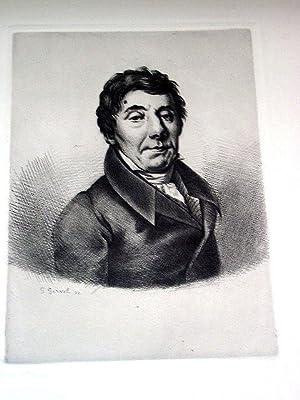 Gravure sur cuivre sur vélin de Rives par Georges Gorvel représentant Louis de BONALD...