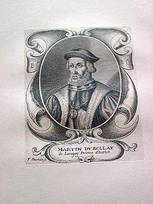 Gravure sur cuivre sur papier vergé représentant Martin du BELLAY, page d'HENRI ...
