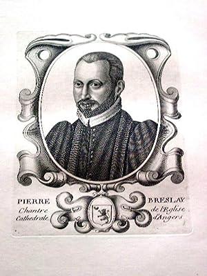Gravure sur cuivre sur papier vergé représentant Pierre BRESLAY chamoine & ...