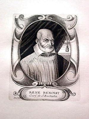 Gravure sur cuivre sur papier vergé représentant le curé de Saint Eustache Ren...