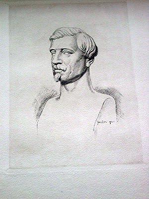 Gravure sur cuivreen tailledouce sur papier d'Arches signée au: GRAVURE Auguste