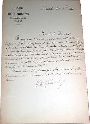Lettre autographe signée à l'entête de la Revue des Deux Mondes, dat&...