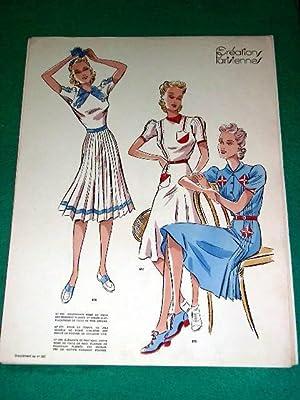Gravure de mode en couleurs des années 40 représentant desmodèles de: GRAVURE ...