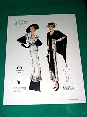 Gravure de mode en couleurs de 1935 représentant deux modèles de robes: GRAVURE DE ...