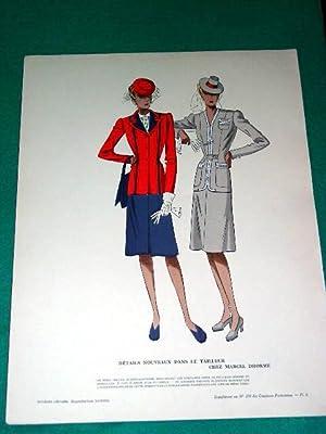 Gravure de mode en couleurs des années 40 représentant des modèles de ...