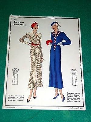 Gravure de mode en couleurs de 1933 représentant deux modèles de robes Martial & ...