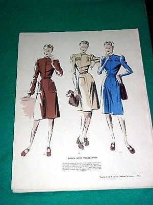 Gravure de mode en couleurs des années 40 intitulée Robes sans prétention.: ...