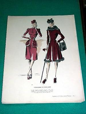 Gravure de mode en couleurs des années 40 représentant desensembles: GRAVURE DE MODE