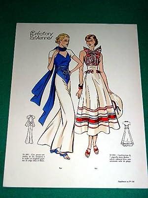 Gravure de mode en couleurs de 1935: GRAVURE DE MODE