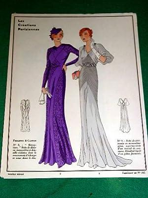 Gravure de mode en couleurs de 1933 représentant deux modèles de robes de la Maison ...