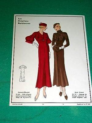 Gravure de mode en couleurs de 1933 représentant deux modèles de robes des Maisons ...