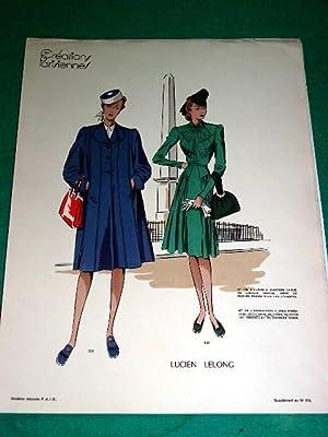 Gravure de mode en couleurs de 1941 représentant deux modèles de robes: GRAVURE DE ...