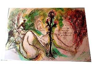 """Lithographie originale sur Soie """"LA MAUVAISE HERBE"""" signée au crayon: Lithographie..."""