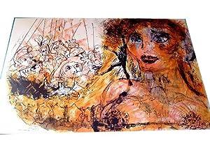 """Lithographie originale sur velin d'Arche """"BECASSINE"""" signée au crayon: ..."""