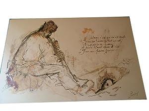 """Lithographie originale sur velin d'Arche """" LE FOSSOYEUR"""" signée au crayon ..."""