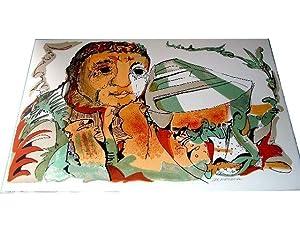 """Lithographie originale en couleurs sur Vélin d""""Arches signée au crayon: ..."""