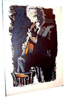 """Lithographie originale sur japon nacré """"A BOBINO """" signée au crayon: Lithographie d'Eric"""
