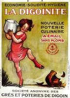 Affiche publicitaire en couleur collée sur carton de 1928, Illustrée par Francisque ...