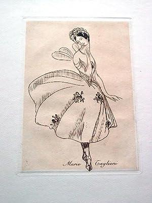 Gravure sur cuivre sur vélin de Rives par Vibert représentant la: GRAVUREMarie