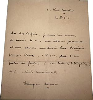Très belle Lettre Autographe de 1895 signée de Meunier Dauphin.: MEUNIER DAUPHIN
