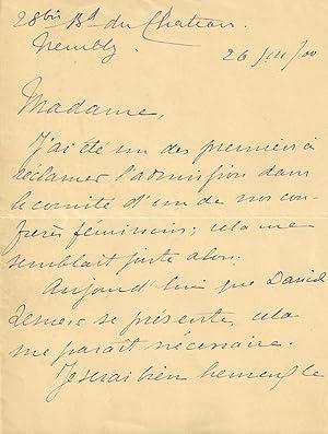 Lettre autographe signée du romancier et auteur François de NION, au sujet d'...