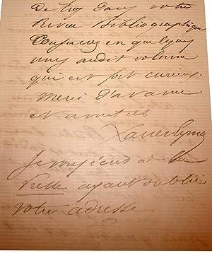 Lettre autographe signée de LouisXavier Eyma adressée a un ami,pour: EYMA (...
