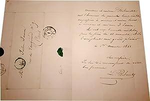 Lettre autographe signée de Louis Belmontet datée de 1841, adressée à ...