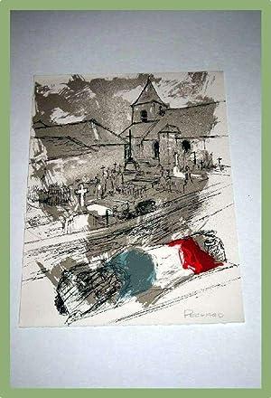 Lithographie en couleur représentant un cimetière.: PECNARD Jacques (1922)