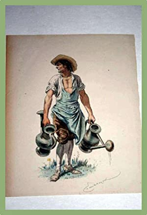 Très belle gravure XIX ème aquarellée représentant un jardinier.: ...