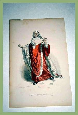 Très belle gravure XIX ème aquarellée intitulée : Mais plutôt. ...