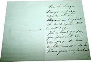 Edouard PAILLERON : Billet autographe signé, il à un lumbago, pour: Lettre autographe