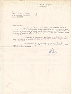Tapuscrit signé de Vintila HORIA (1915-1992) Madrid 1960 ) Michel de Saint-Pierre lui ...