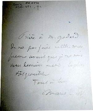 Mario PROTH (18321891) : Billet autographe signé.: Lettre Autographe