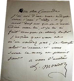 Lettre autographe signée d'Antoine Louis Martial Barizain dit MONROSE fils (1811-1867) ...