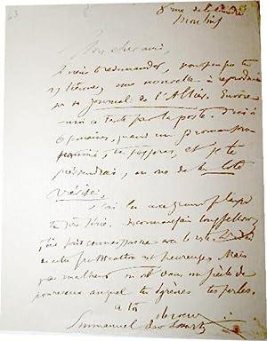 Emmanuel des ESSARTS (1839-1909) : Lettre autographe signée au sujet d'une nouvelle &...
