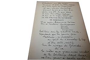 La vie étrange de Ratiboise de Bordeaux.: RICAU (Osmin).