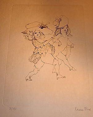 Les petites filles modèles, gravure originale au trait, de Léonor Fini,: Gravure originale