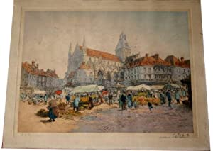 Originale eau-forte et pointe sèche en couleurs représentant un marché. Sign&...