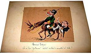 Aquarelle originale 19 ème sur papier contrecollé sur carton représentant Les ...