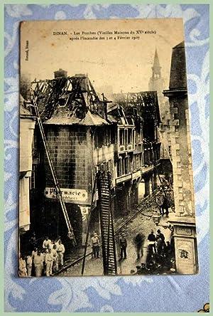 22) DINAN Les Porches (vieilles maisons du XV° siècle) après l'incendie des ...