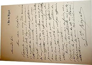 Lettre autographe signéeFélicitations à un confrère nommé ...