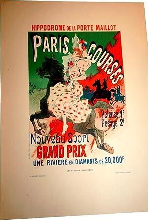 """Lithographie en couleurs """"Paris Courses- nouveau Sport Grand Prix une Rivière de ..."""