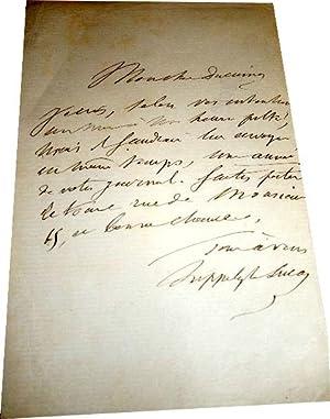Mot autographe signée d'Hippolyte Lucasà un confrère pour l'envoie: Lettre autographe