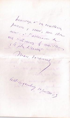 Lettre autographe signée par le poète etprésident du Sénat, Marc: ...